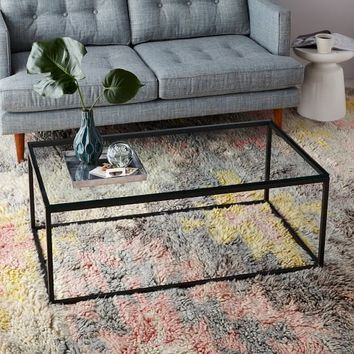 Box Frame Coffee Table - Glass/Antique Bronze
