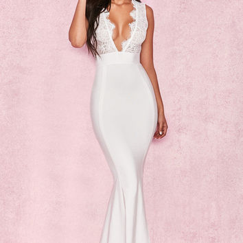 Clothing : Max Dresses : 'Balere' White Bandage and Lace Maxi Dress