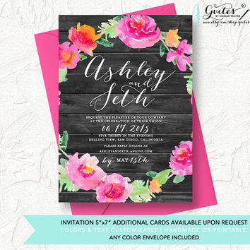 Shabby chic wedding invitations, peony wedding invitation, rustic wood invitations, floral invitation, country wedding invitations.
