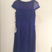 Tadashi Shoji Lace Cap Sleeve With Sheer Detail And Pintuck Piping Dress