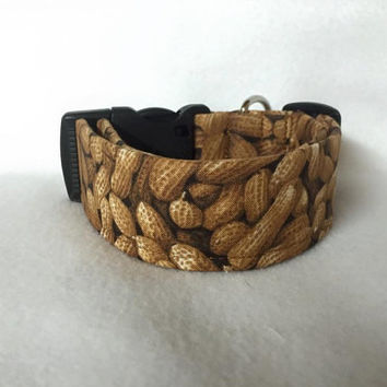 "Farmer John's Organic Peanuts Brown Martingale or Quick Release Collar Mustache 1"" Martingale, 1.5"" Martingale Collar or 2"" Classic Buckle"