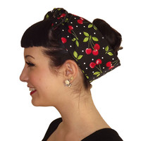 Red Cherry Polka Dot Head Wrap Scarf