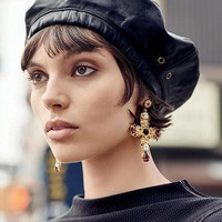 DCCKFS2 New Arrival Vintage Black Crystal Cross Drop Earrings for Women Baroque Bohemian Large Long Earrings Jewelry Brincos 2018