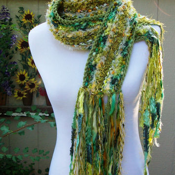 Shade of Green Hand Knit Scarf Imorted Yarns Warm and Soft Long Fun Fringe Accents