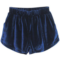 ROMWE | High Waist Drape Blue Velour Shorts, The Latest Street Fashion ($20-50) - Svpply
