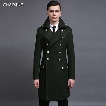 Design men coats and jackets S-6XL oversized tall and big men green woolen coat germany army navy pea coat
