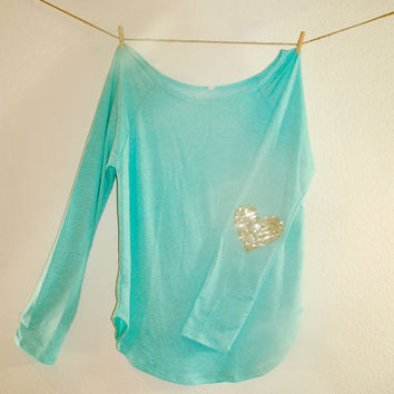Sequin Heart Elbow Patch Slouchy Pullover - French Terry T Shirt with Your Choice of Elbow Patch Color Design Your Own