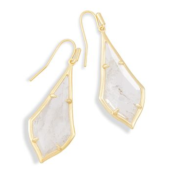 Olivia Gold Drop Earrings in Rock Crystal | Kendra Scott