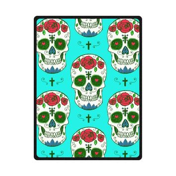 Red Roses Skulls Cross Woolen Fleece Blanket Indoor/Outdoor Blanket Travel Blankets 40x50, 50x60, 58x80inches