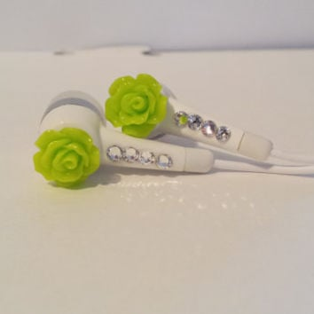 Bright Neon  Green Rose Earbuds With Swarovski Crystals.