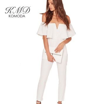 KMD KOMODA Apparel Women Jumpsuit Off Shoulder Elegant Slash Neck Chic Playsuit Solid White Ruffles Sexy Streetwear Jumpsuit