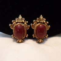 Florenza Victorian Carnelian Cabochon Gold Plate Earrings