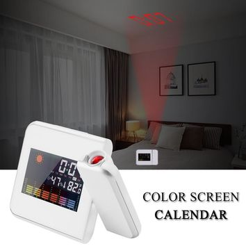 Digital LED Projection Alarm Clock Forecast Weather Desk Clock LCD Display Support Thermometer Humidity Snooze Temperature