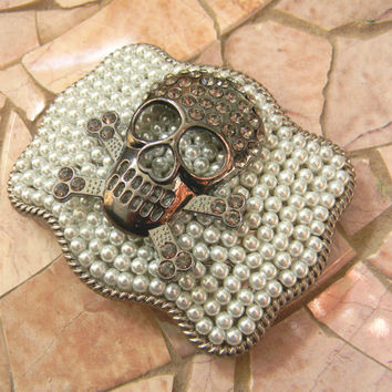 Silver Skull Rhinestone Belt Buckle, Rhinestone Skull Belt, Womens Pearl Belt Buckle, Biker Belt, Custom Belt Buckle
