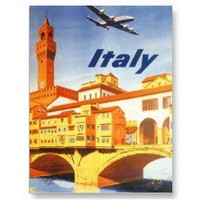 Vintage Travel Poster, Italy Postcard