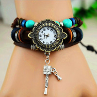 Vintage Style Leather Belt Flower Dial Watch with Prayer Wheel B028