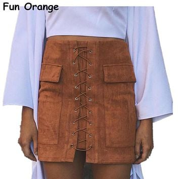 Lady Autumn Lace Up Suede Leather Women Skirt 90's Vintage Pocket Preppy Short Skirt Winter High Waist Casual Skirts