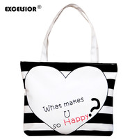 Simple Women Large Canvas Handbag Zipper Shopping Shoulder Bag Striped Heart Pattern Bookbag Casual Tote