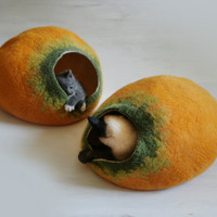 Cat Cave / Bed / House / Vessel - Hand Felted Wool - Yellow Pumpkin Bubble - Crisp Contemporary Design - READY TO SHIP
