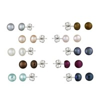 Stainless steel 5.5-6mm Freshwater Cultured Multi-Color Stud Earrings, set of 10