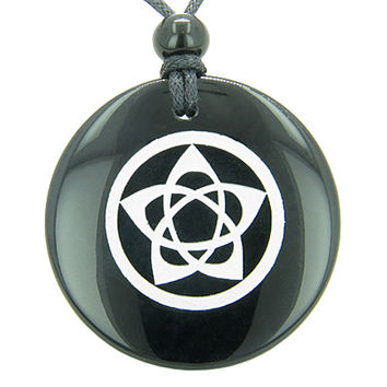 Flower of Life Wiccan Pentacle Star Amulet Black Agate Magic Pendant Necklace