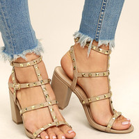 Phedra Natural Studded Ankle Strap Heels