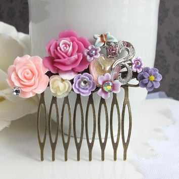 Purple Wedding Vintage Inspired Hair Comb Accessory. Pink Ruffled Rose, Purple Blossom, Blue Butterfly Heart Stone. Bridal Bridesmaids Gift