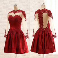 Dark Red Elegant Cowl Long Sleeves Homecoming Dress
