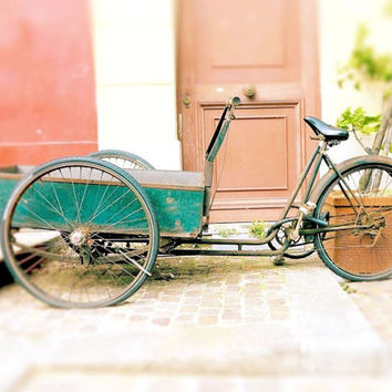 Bicycle Photography, Paris Photography, Vintage Bike Photo, Earth Tones, Emerald Green, Rustic Decor, Paris Wall Art, 8 x 10 Art, Bike Print