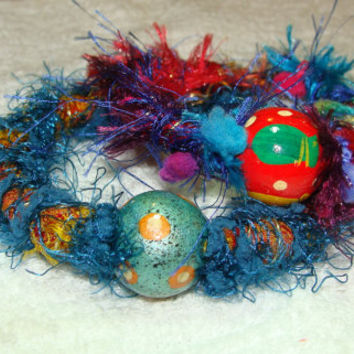 colorful, fuzzy, beaded, fabric, fiber, gypsy, circus, carnival, bracelets, jewelry