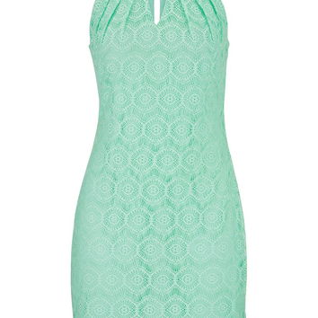 Lace Overlay Sheath Dress - Mint Creme