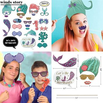 26pc Party Photo Booth Props Mermaid Weeding Party Decoration Portable DIY Paper Fifsh PhotoBooth Kid Birthday Party Decoration