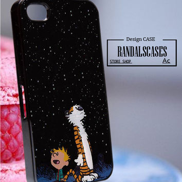 Rc21Z17_Calvin and Hobbes - Accessories iPhone - design print for iPhone 5C - White Case - Material Soft Rubber (TPU)