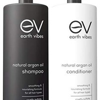 Earth Vibes Argan Oil Shampoo & Conditioner Set - (16oz/473mL) - Sulfate Cruelty And Paraben Free - Made With Organic Jojoba Oil, & Coconut Oil - Moisturizes & Strengthens All Hair Types