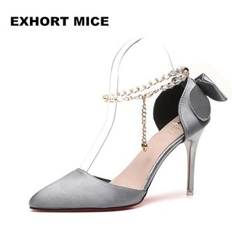 2018 New summer fashion sexy big bow pointed toe high heels sandals shoes woman ladies wedding party pumps dress shoe #669 #1
