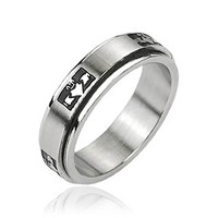 Stainless Steel 'Claddagh' Crowned Holding Heart Center Spinner Ring