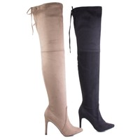 Beverly55 By Breckelle's, Pull On High Heel Over Knee Dress Boots w Rear Lace Tie Closure