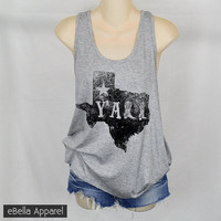 Texas Y'all - Women's Plus Size Heather Grey Tank Top, Graphic Print Tank