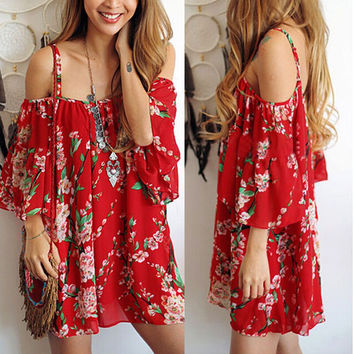Spaghetti Strap Print Off Shoulder Short Sleeve Short Dress