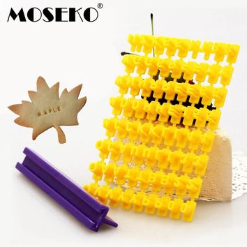 MOSEKO DIY Alphabet Cake Mould Letter Impress Biscuit Cookie Cutter Press Stamp Embosser Fondant Mold Press Sets