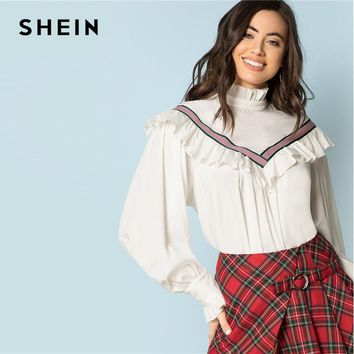 SHEIN White Tie Neck Contrast Striped Ruffle Top Elegant Kont Back Stand Collar Blouse Women Autumn Workwear Shirt Top
