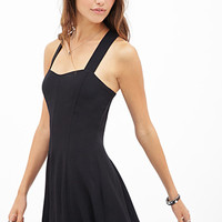 FOREVER 21 Buttoned Crossback Dress Black