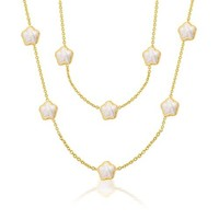 Mothers Day Gifts Gold Plated Crystal White Enamel Flower Clover Necklace 36in