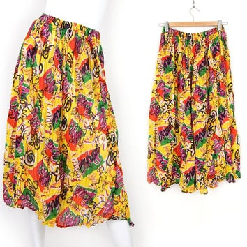 Vintage 80s Colorful Cotton Gauze Midi Skirt - Small Medium - Women's Yellow Red and Green Flowy Crinkle Pleated Skirt