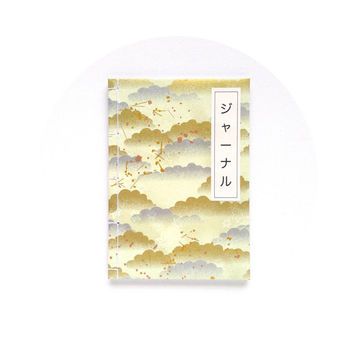 A5 Notebook - Japanese Paper - Silver and Gold Clouds Evening Sky Midori mtn Fauxdori