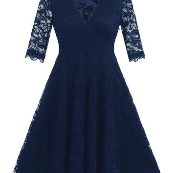A| Chicloth Vintage Lace Covered Low Cut Burst Large Swing Dress Cocktail Swing Dress