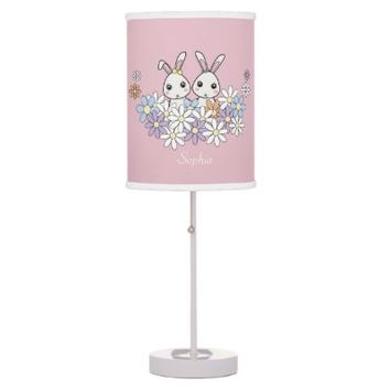 Cute Animal Personalized Pink Table Lamps: Girl Baby Shower, Birthday, or Easter Gift Idea: Cute Bunnies: Twins, Sisters, or Best Friends