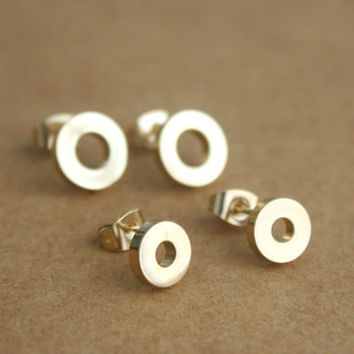 Surgical Steel Open Circle Stud Earrings, Gold Open Circle Stud Earrings, Black Open Circle Earrings, Fake Plugs, Jewelry for men, Gift, 20g