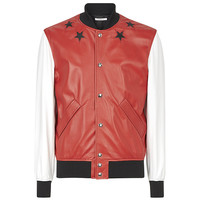 Black Stars Appliqué Leather Jacket by Givenchy