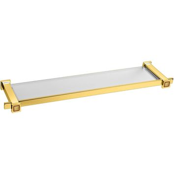 "Starlight Glass Bathroom Shelf W/ Swarovski - Gold 18"" / 22""/ 26"""